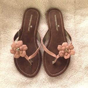 Brown flat sandals with pink flower, size 6.5